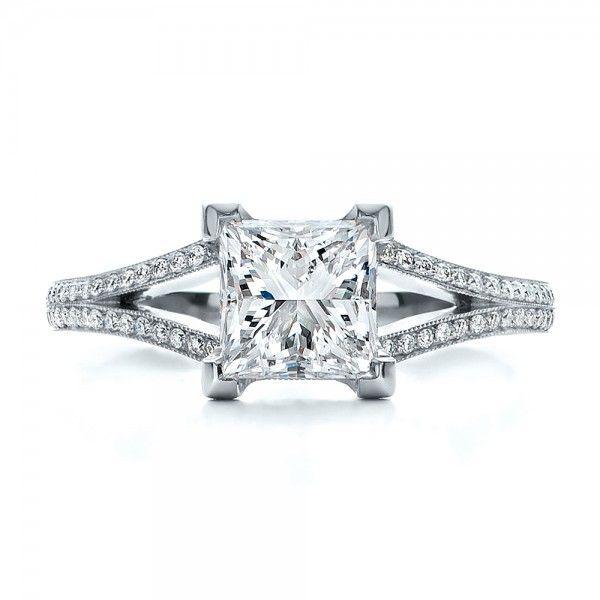 Custom Princess Cut Diamond and Split Shank Engagement Ring - Top View