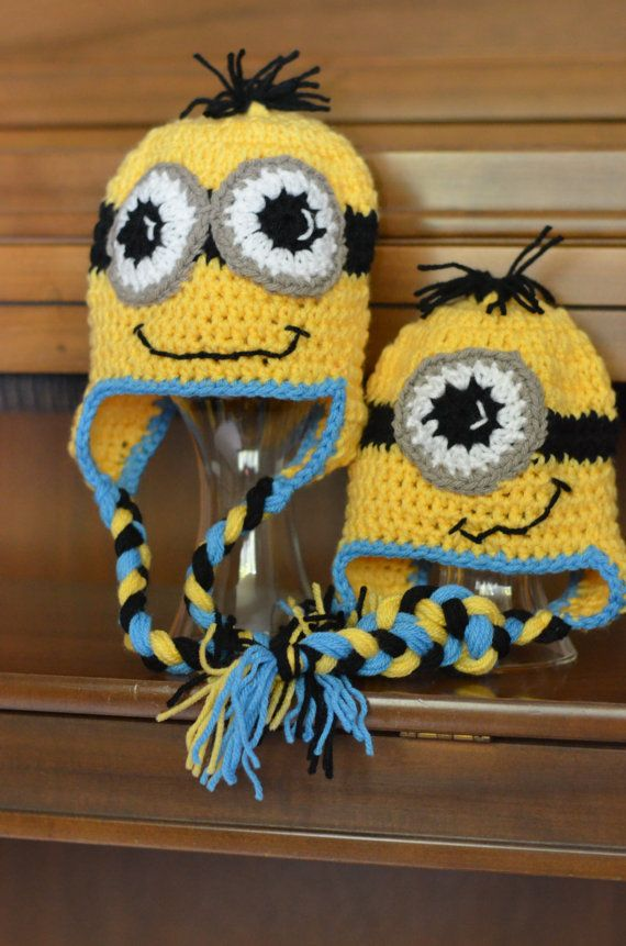 Minion Cartoon Character Crochet Hat All Sizes Available