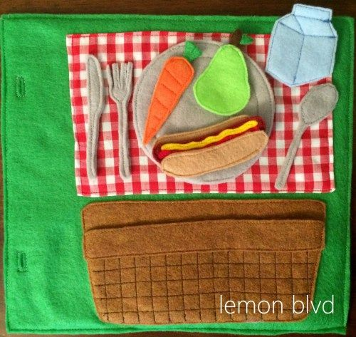 Picnic Quiet Book Page - felt food with a picnic blanket and basket for storage - lemon blvd