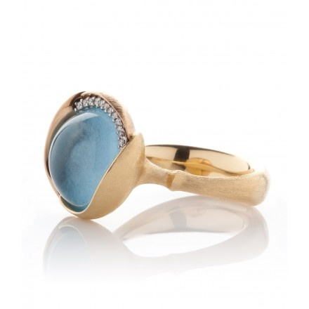 Lotus Blue Topaz Diamond Ring BY OLE LYNGGAARD