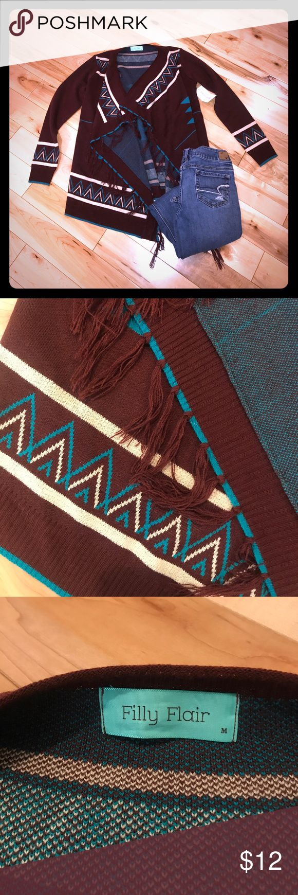 NWT Filly Flair Long-sleeve Asymmetrical Sweater Filly Flair Long-sleeve Asymmetrical Sweater w/ tassels - Burgundy with Cream and Blue Aztec Design Filly Flair Sweaters Cardigans