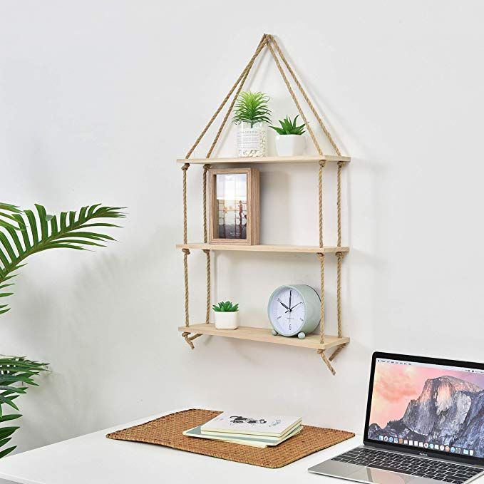 Amazon Com Jaydee Decorative Hanging 3 Tier Natural Wood Floating Wall Shelves With Jute Rope Home Deco Wood Swing Floating Wall Shelves Rustic Wall Decor Diy