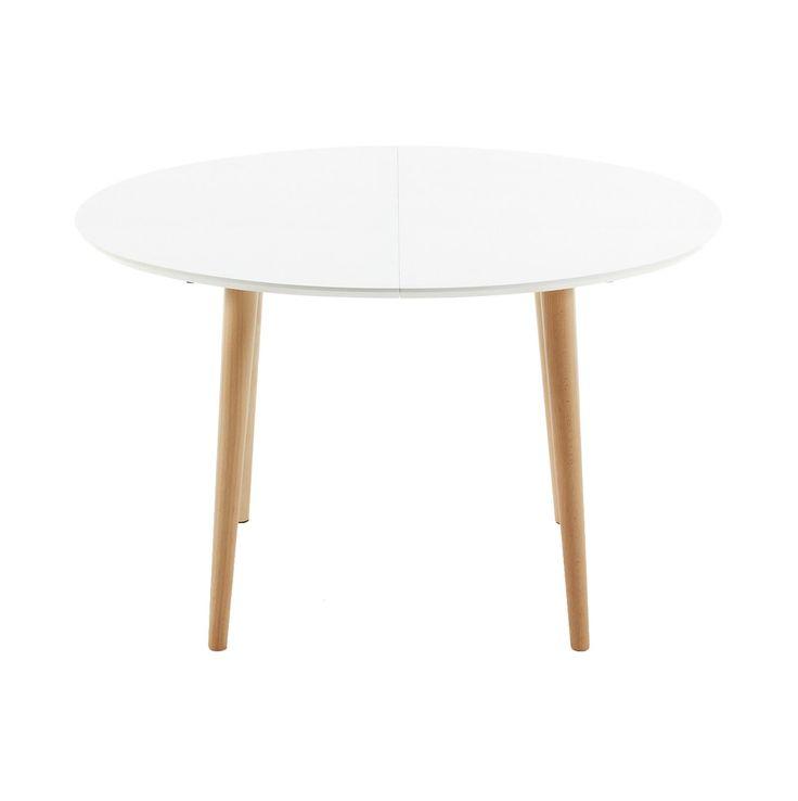#Mesa ovalada #extensible en #madera color #blanco