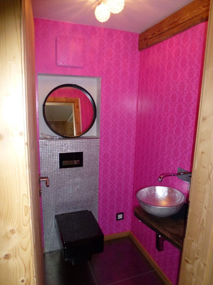 #toilette #schwarz #tapete #pink