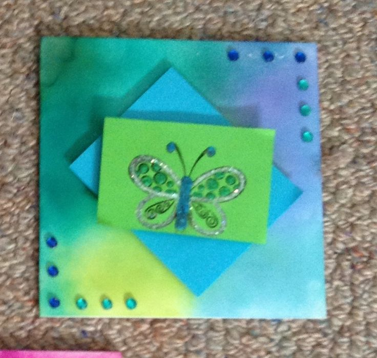 Ink and butterfly stamp card :)) October 2014