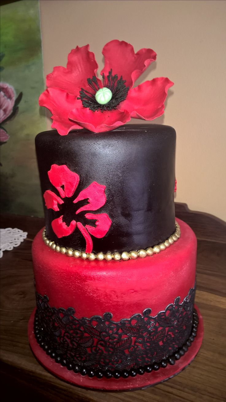 Black and red modern lace cake