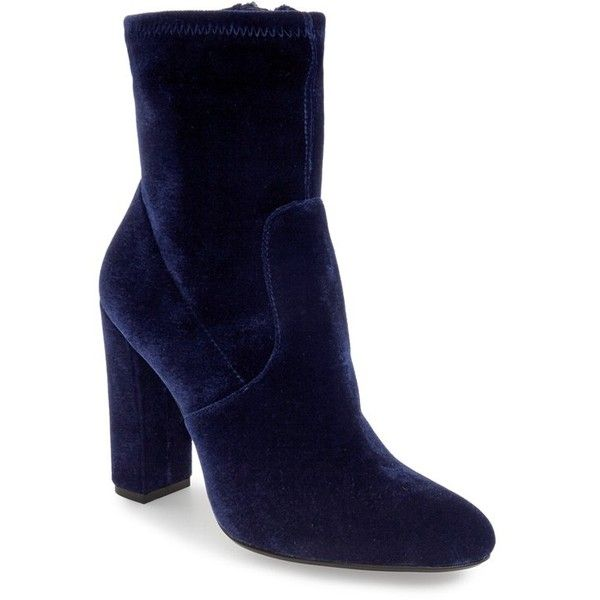 Women's Steve Madden 'Edit' Bootie (£74) ❤ liked on Polyvore featuring shoes, boots, ankle booties, navy velvet, navy ankle boots, slouch booties, steve madden boots, velvet booties and navy blue booties