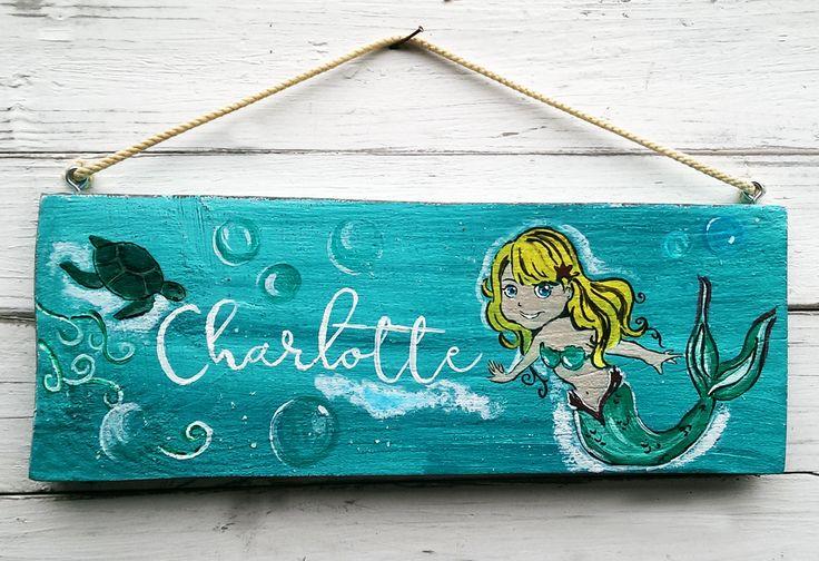 Türschild Kinderzimmer Namensschild Meerjungfrau Kinderzimmerdeko Tipi Zelt Shabby chic handbemalt türkis blau handcrafted kids door sign von melkey83 auf Etsy