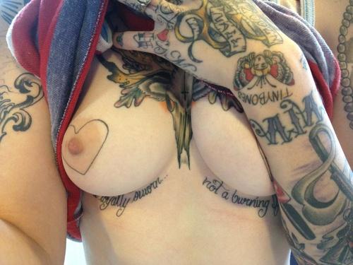 Share your Heart nipple tattoo phrase