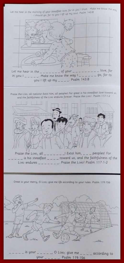 Colour the Psalms allows elementary school children to color and memorize key Psalms