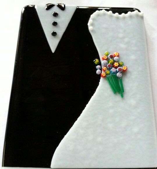 Fused glass, wedding, bride and groom, engagement.