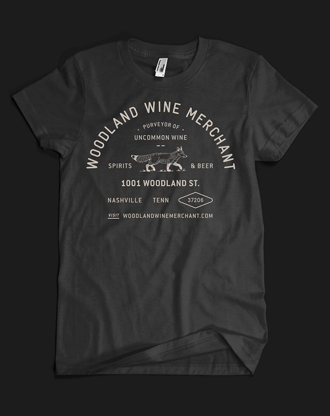 Woodland Wine Merchant brand identity, by Perky Bros