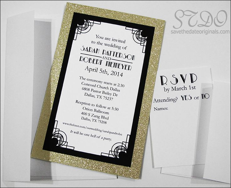 Layered Wedding Invitation Made With Gold Glitter Card Stock