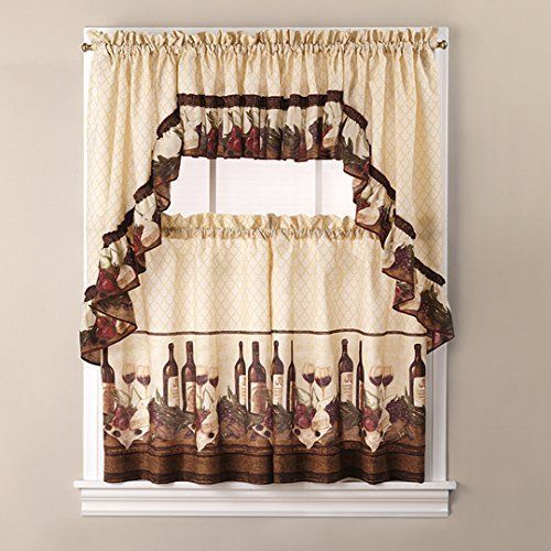 Vino Tuscany Swag Valance Wine 3 PC Window Set Home Decor