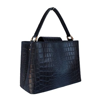 Francesca Italian Mock Croc Navy Leather Handbag - £54.99