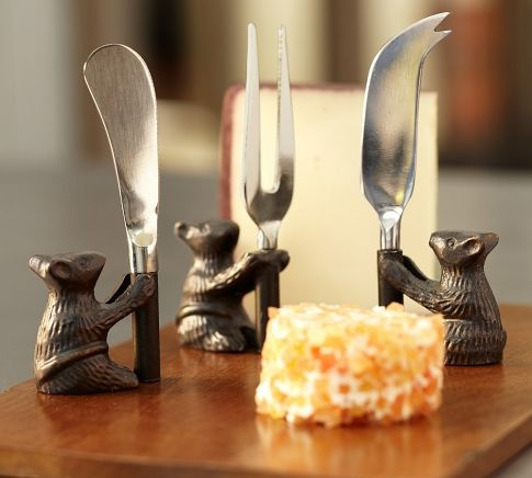 Cheese Board & Mouse Knives Set | Pottery Barn