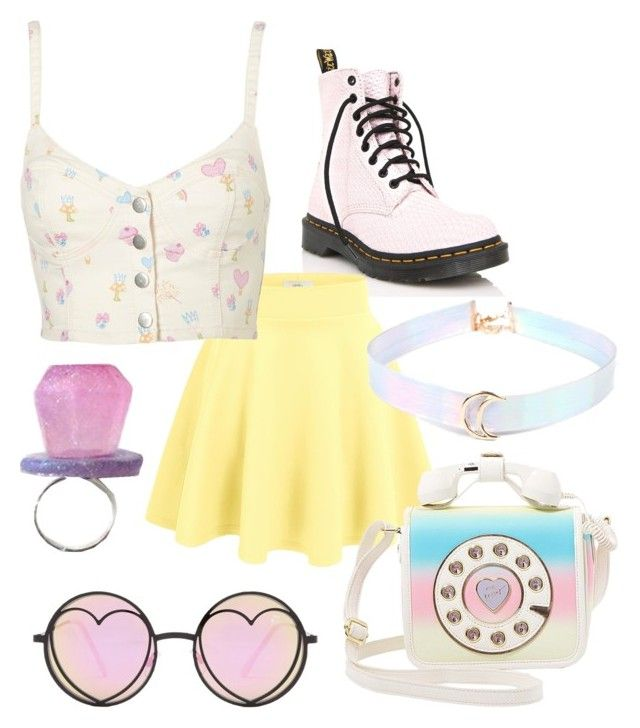 """""""you and me, punk rock girl"""" by stardustgay ❤ liked on Polyvore featuring Dr. Martens and Betsey Johnson"""