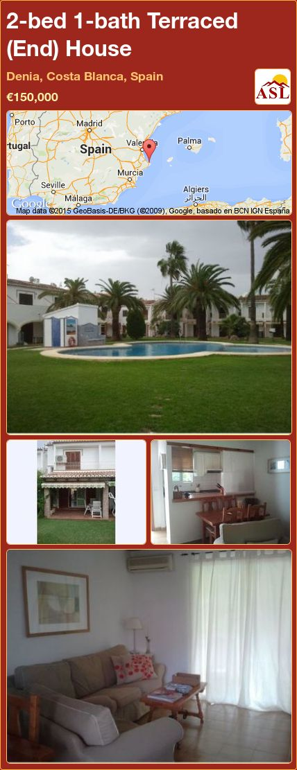 2-bed 1-bath Terraced (End) House in Denia, Costa Blanca, Spain ►€150,000 #PropertyForSaleInSpain