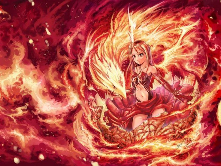 Anime half dragon girl google search anime fantasy - Anime girls with fire ...
