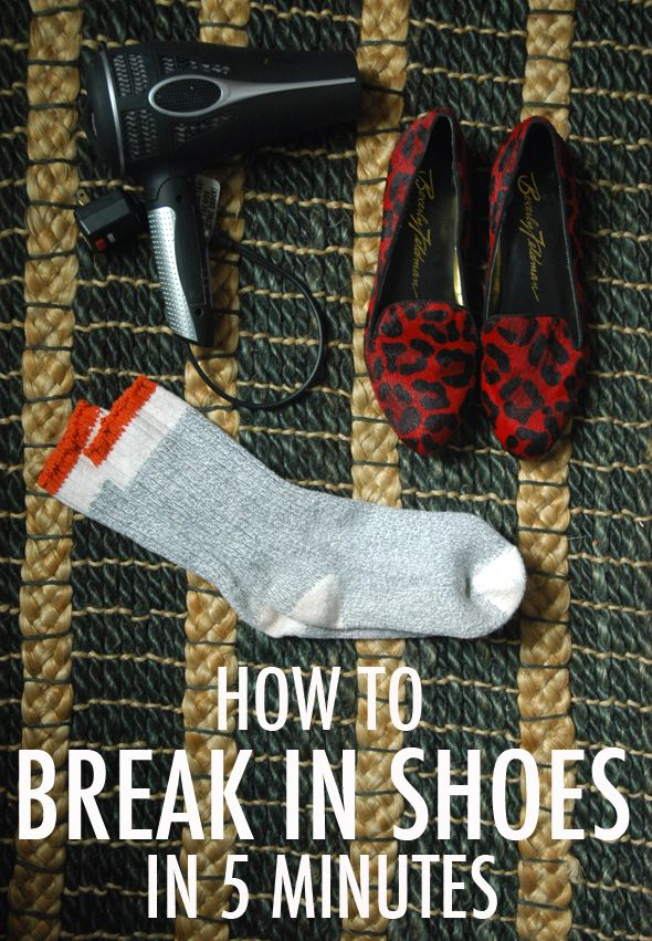 How to break in shoes in 5 minutes:  1.  Put them on over a pair of thick socks; 2. Heat them up with a blow dryer; and 3.  Wear them until they cool down.