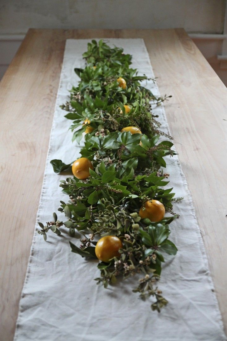 Diy A Tabletop Garland Of Mistletoe And Meyer Lemons