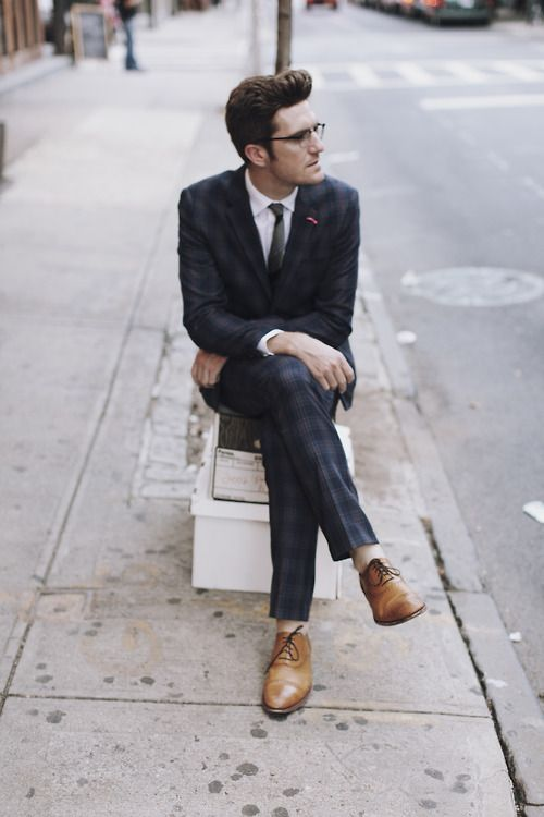Penguin plaid Suit, Grenson Shoes: Hipster Fashion, Cities Style, Hipster Chic, Blue Suits, Guys Style, Men Style, Plaid Suits, Men Fashion, Grenson Shoes
