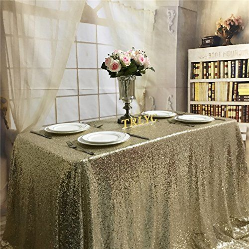 9a5045cc8eec9 ShiDianYi TRLYC 60x120-Inch Christmas Light Gold Sequin Tablecloth for  Wedding Party Banquet