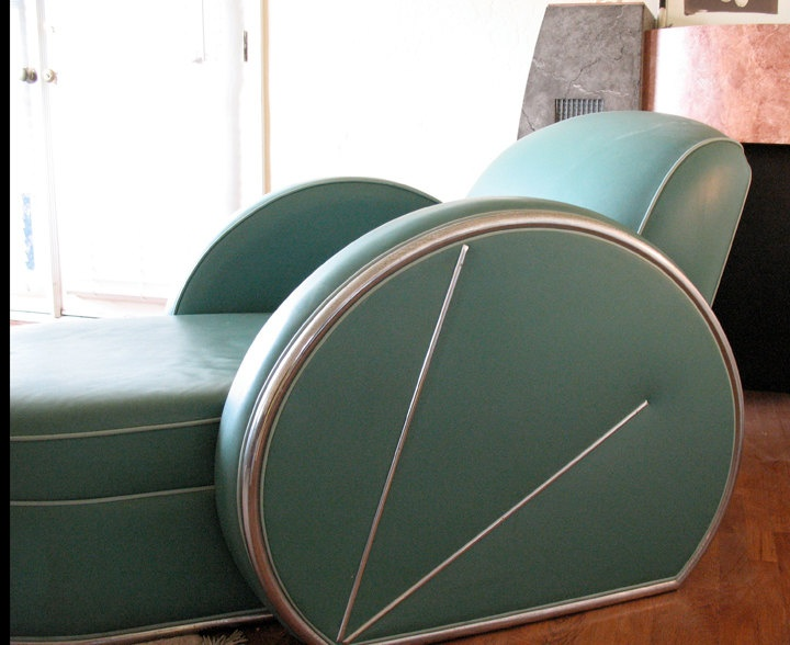 Spectacular Art Deco green leather and chrome chaise lounge fainting couch designer item. $1,750.00, via Etsy.