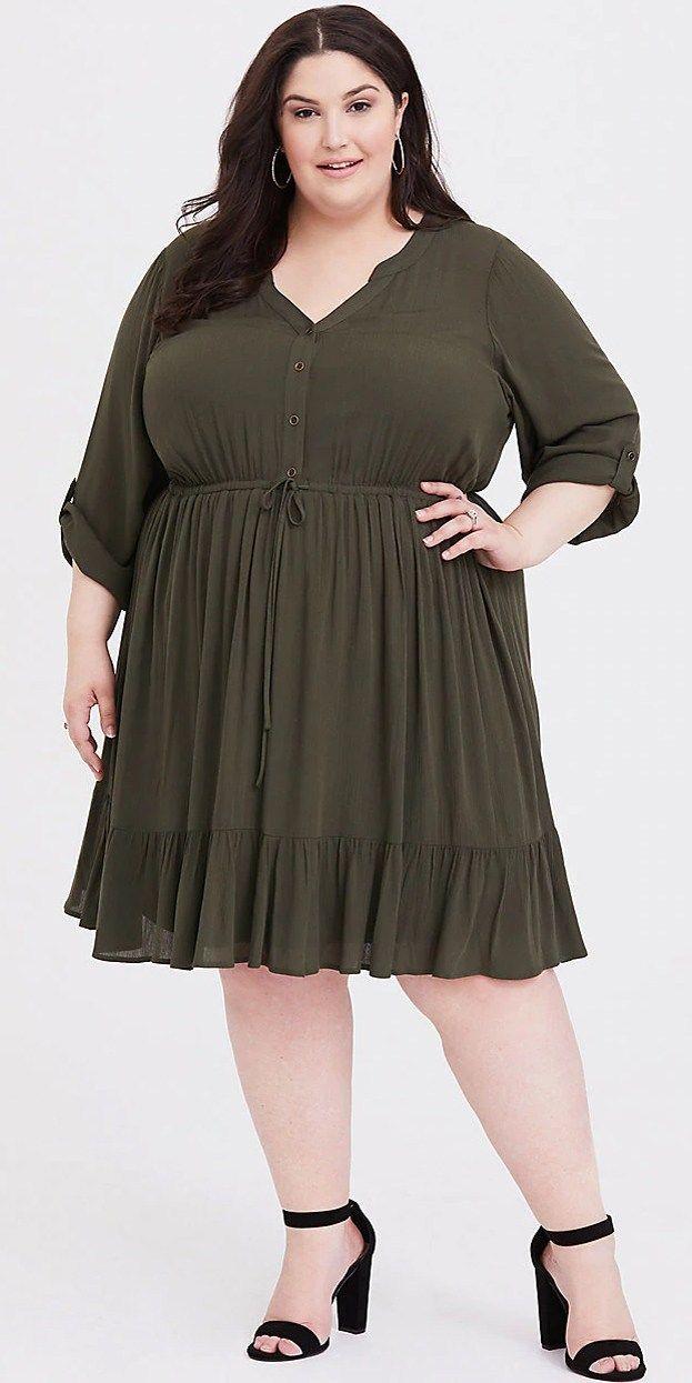 ea8ee609e9 Plus Size Spring Dresses - Plus Size Olive Shirt Dress Outfit - Plus Size  Fashion for Women - alexawebb.com #plussize #alexawebb