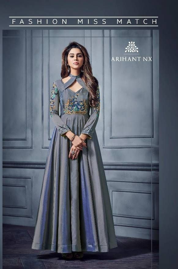 c200ab0c8c ARIHANT NX FLORET VOL 3 HEAVY DESIGNER PARTY WEAR TWO TONE SILK WITH HEAVY  EMBROIDERY WORK READYMADE GOWN AT WHOLESALE RATE