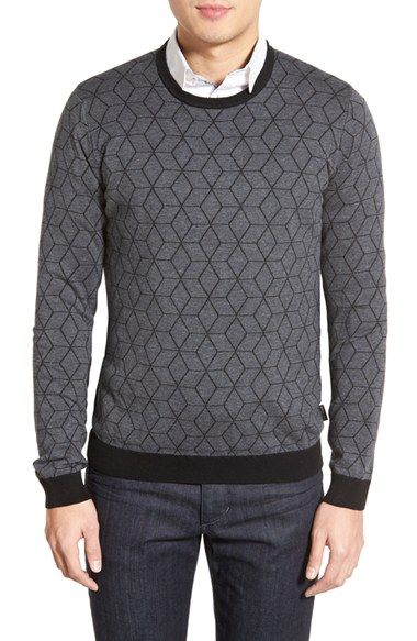Free shipping and returns on Ted Baker London 'Lochee' Jacquard Crewneck Sweater at Nordstrom.com. An eye-catching jacquard design framed in tonal ribbing defines this slim crewneck sweater knit in a breathable cotton blend with a hint of feathery-soft cashmere.
