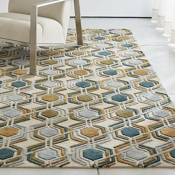 New Crate And Barrel Riesco Mid Century Wool Rug 5x8 6x9 8x10