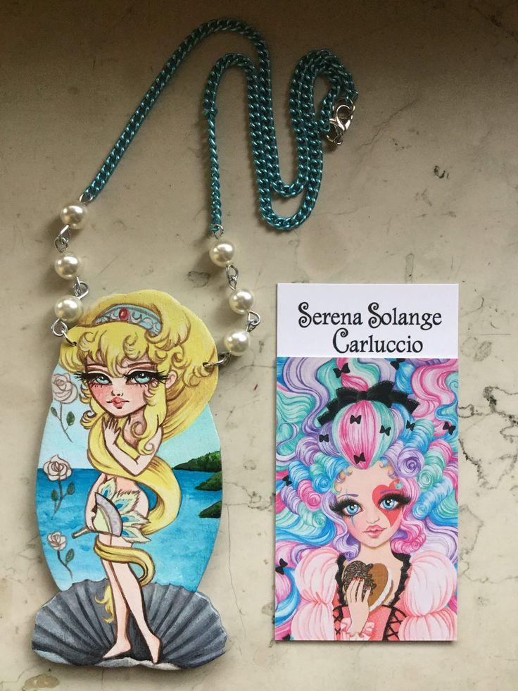 Collana Venere Lady Oscar , pendente in legno sagomato dipinto con acrilico di Serena Solange Carluccio