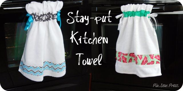Pin. Sew. Press.: Tutorial: Stay-put Kitchen Towel: Towels Tutorials, Kitchens Towels, Crafts Ideas, Stay Putting Kitchens, Gifts Ideas, Kitchen Towels, Hands Towels, Dishes Towels, Christmas Gifts