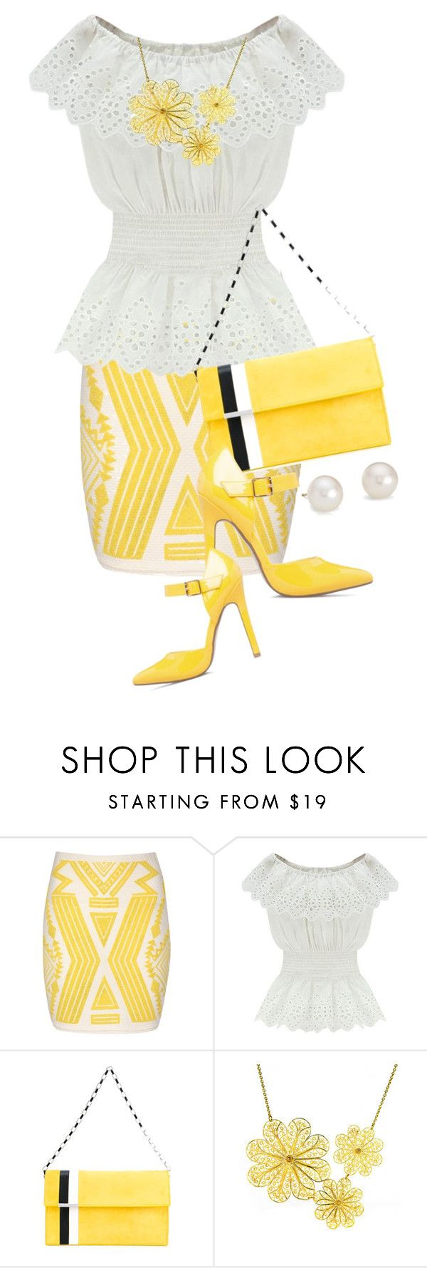 """""""Yellow Aztec Print Skirt (1)"""" by queenrachietemplateaddict ❤ liked on Polyvore featuring Jane Norman, WithChic, Tomasini, ShoeDazzle, Arabel Lebrusan and Blue Nile"""
