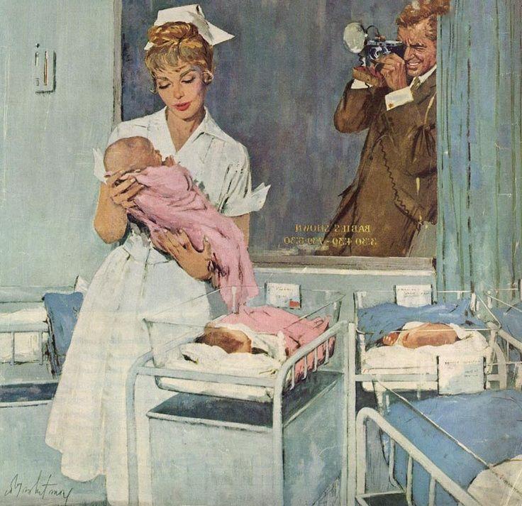 Vintage illustration, dad taking photography of newborn daughter.