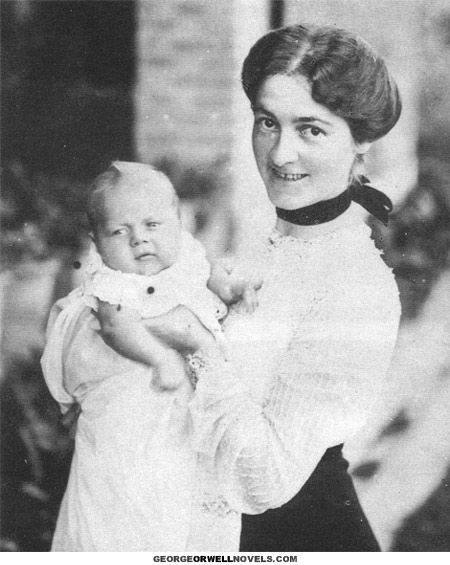 Little Eric Arthur Blair (real name of author George Orwell) in the fall of 1903 with his mother, Ida Limouzin Blair. Taken in Motihari, India, ...