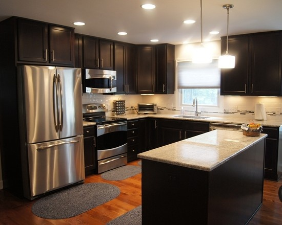 Chocolate Kitchen Cabinets Light Fixtures Dark Design Pictures Remodel Decor And Ideas Home Designs