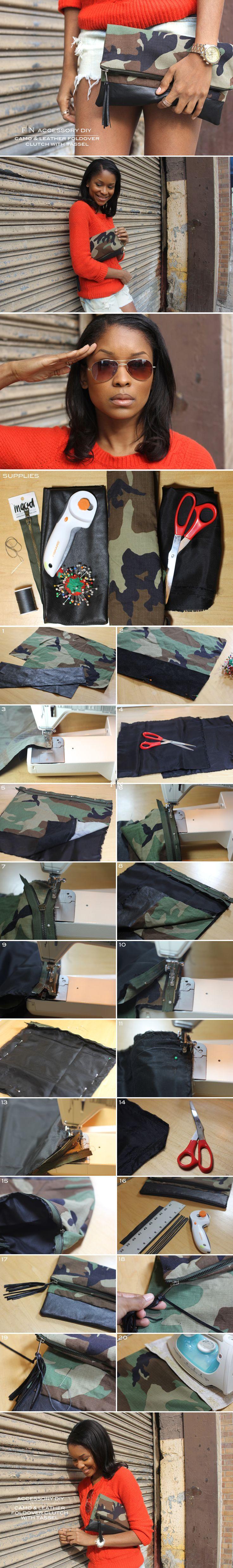 FRUGAL-NOMICS.COM DIY:  Camo and Leather Foldover Clutch with Tassel #DIY #Camo #Tassel #Clutch | Details on Frugal-nomics.com/diy