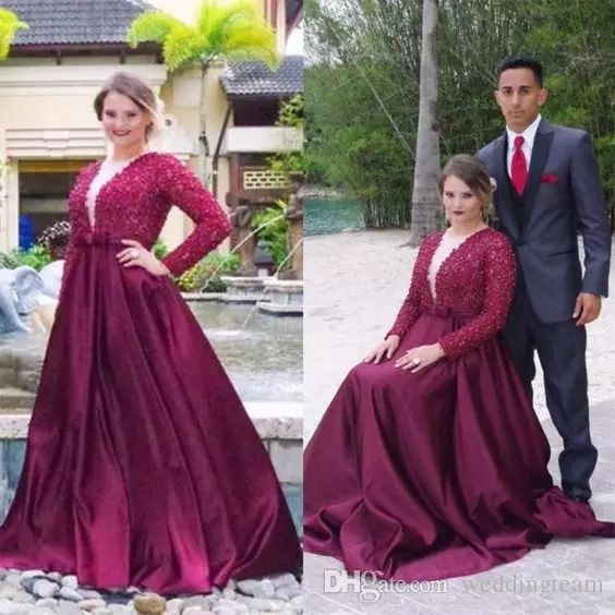 Burgundy Beaded Plus Size Prom Dresses With Long Sleeves Deep V Neck Evening Gown Floor Length Satin Long Formal Guest Dress Black Dresses Plus Size Clearance Prom Dresses From Weddingteam, $149.9| Dhgate.Com
