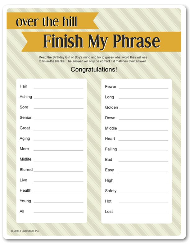 Printable over the hill finish my phrase games for Birthday games ideas for adults