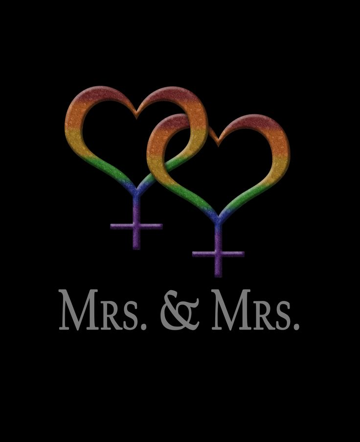 Mrs and Mrs Lesbian pride Wedding design with overlapping rainbow colored Female gender symbols. Great for LGBT Marriage gifts. #Lesbian #mrmr #liveloudgraphics