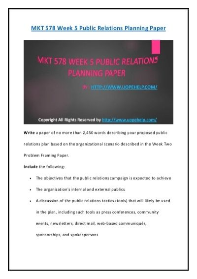We bring to you the largest online platform to find 100% verified correct answers to the MKT 578 Week 5 Public Relations Planning Paper UOP Course Material.