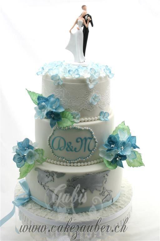 Wedding Cake  Blue  Hortensien  Hochzeitstorte  blaue Hortensien Blue Hydrangea