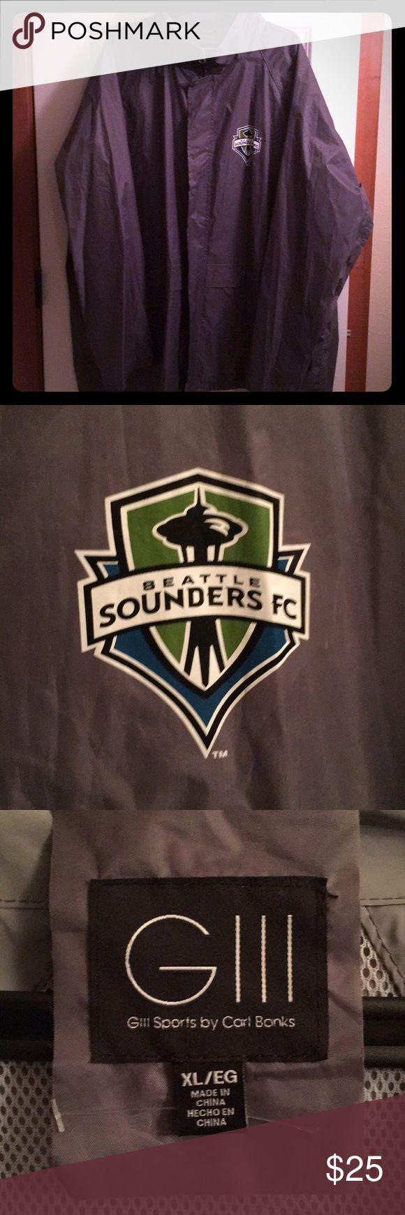 Seattle Sounders gray rain coat 🧥 Never been worn. Seattle Sounders FC rain coat ☔️ 🌧 Has a hood that zips into collar also. GIII sports by Carl Banks Jackets & Coats Raincoats