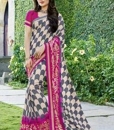 Buy Grey printed georgette saree with blouse party-wear-saree online