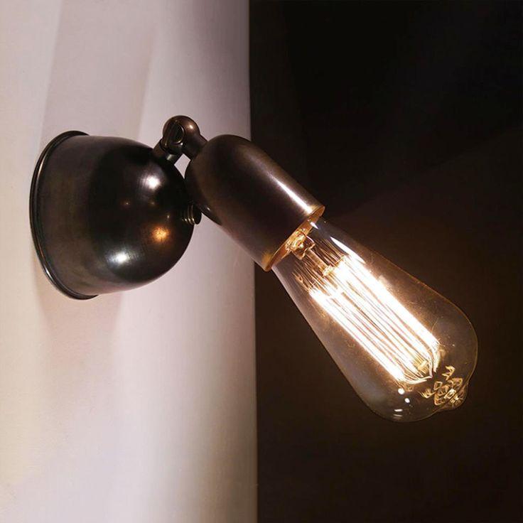 Oxidized brass wall lamp with pivot adjustable head - restaurant cafe decor (42.00 USD) by DLIGHTcreation
