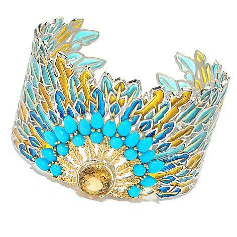 "157-399 - Gems en Vogue 7.25"" Citrine & Sleeping Beauty Turquoise Peacock Cuff Bracelet"