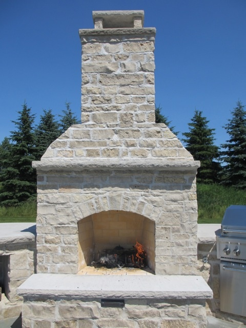 Stone Veneer Outdoor Fireplace Fireplaces With Natural