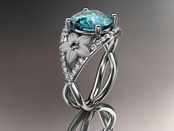 14kt  white gold diamond floral blue topaz ring by anjaysdesigns on Etsy